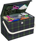 Everything Mary Tall Rectangle Sewing Box with Handle-Green Plaid