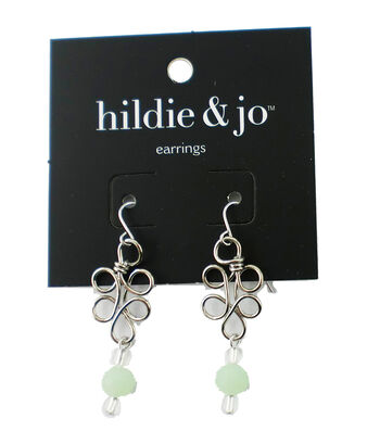 hildie & jo Wrap Wire Silver Earrings-Green & Clear Crystals
