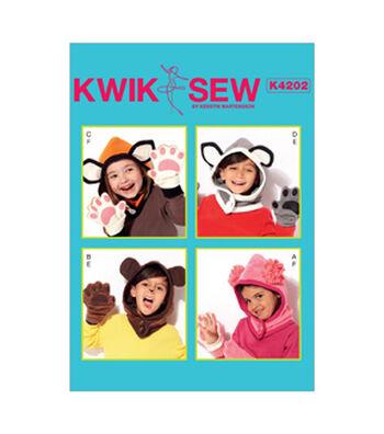 Kwik Sew Pattern K4202 Kids' Animal-Themed Hoods & Mittens