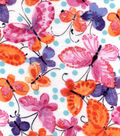 Snuggle Flannel Fabric 42\u0022-Watercolor Butterflies Pink
