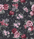 Vintage Cotton Fabric 43\u0027\u0027-Small Bouquet on Navy