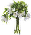 Hydrangeas & Peonies in Glass Vase 19\u0027\u0027-Green & White