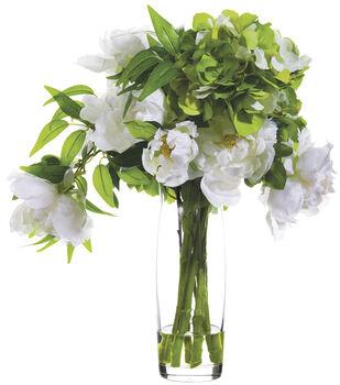 Hydrangeas & Peonies in Glass Vase 19''-Green & White