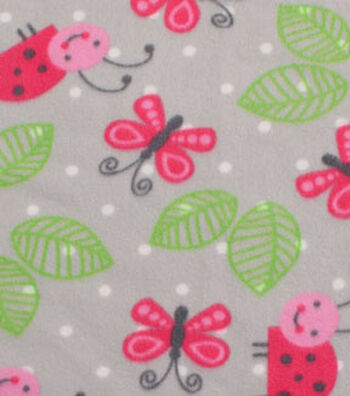 Blizzard Fleece Fabric 59''-Happy Ladybugs & Butterflies