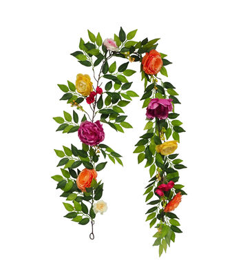 Fresh Picked Spring 66'' Peony & Rose Garland-Multicolored