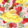 Disney Beauty & The Beast Cotton Fabric -Belle & Rose Toss