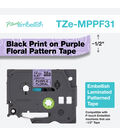 Brother P-touch Embellish Patterned Tape-Purple with Floral
