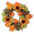 Blooming Autumn 22\u0027\u0027 Sunflower, Berry & Pumpkin Wreath