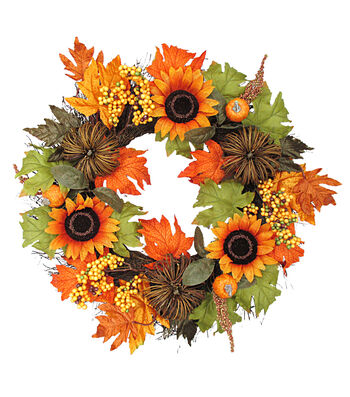 Blooming Autumn 22'' Sunflower, Berry & Pumpkin Wreath