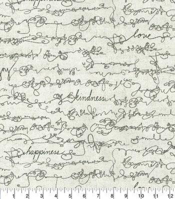 ED Ellen Degeneres Upholstery Fabric 54''-Shale Love Script