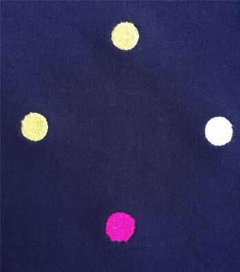 """Doodles French Terry Fabric 62""""-Embroidered Dot Navy"""