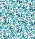 Keepsake Calico Cotton Fabric-Watercolor Flowers Teal