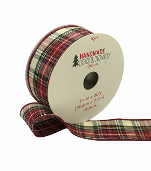 Handmade Holiday Ribbon 1.5''x30'-Burgundy, Ivory & Green Plaid