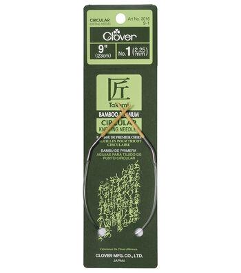 "Clover Bamboo Circular Knitting Needles 9""-Size 1"