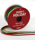 Maker\u0027s Holiday Christmas Metallic Ribbon 1/8\u0027\u0027x54\u0027-Red, Green & Gold