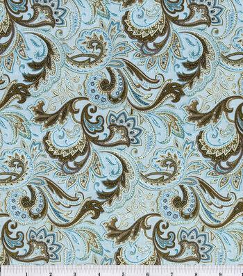 Keepsake Calico Cotton Fabric -Paisley Aqua&Brown