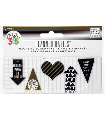 Me & My Big Ideas Planner Basics Magnetic Bookmarks-Black, White & Gold