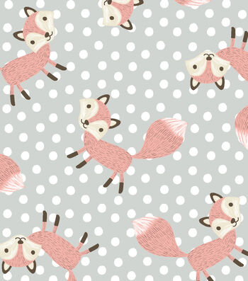 Nursery Flannel Fabric -Fox on Dots