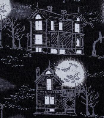 Halloween Cotton Fabric-Glowing Midnight Mansions