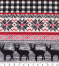 Anti-Pill Plush Fleece Fabric-Aspen Black & White Check Fairaisle Animal