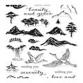 Hero Arts 24 pk Clear Stamps-Ink Painting Scene