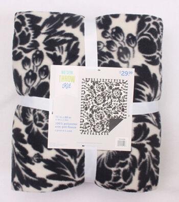 "No-Sew Throw Fleece Fabric 72""-Black Cream Floral"