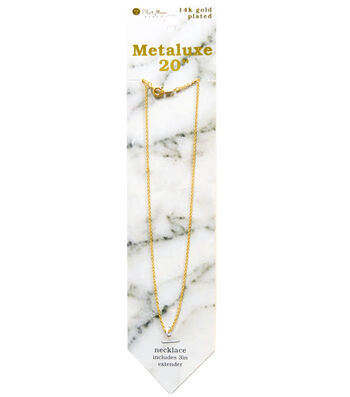 """Metaluxe Cable Necklace 20""""-Gold"""