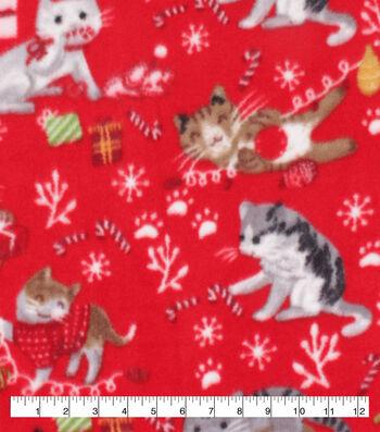 Anti-Pill Plush Fleece Fabric-Xmas Kittens