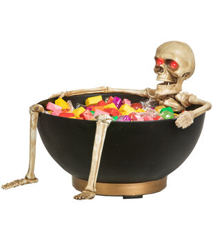 Maker's Halloween Animated Candy Bowl with Skeleton