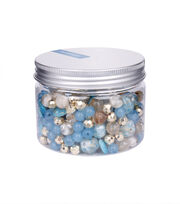 hildie & jo Assorted Fashion Beads in Plastic Jar-Blue & Champagne, , hi-res