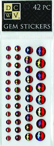 DCWV Iridescent Gem Stickers-Jewel-toned Red Assortment, , hi-res