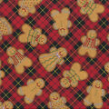 Christmas Cotton Fabric-Gingerbread Cookies Plaid