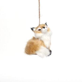 Handmade Holiday Christmas Fur Mama Fox Ornament