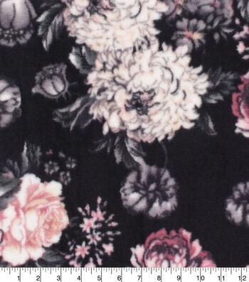 Anti-Pill Plush Fleece Fabric-Black with Pink Rose