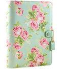 A5 Faux Leather 6-Ring Planner Binder 7.5\u0022X10\u0022-Mint Floral