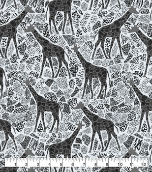 Snuggle Flannel Fabric-Gray Giraffes on White
