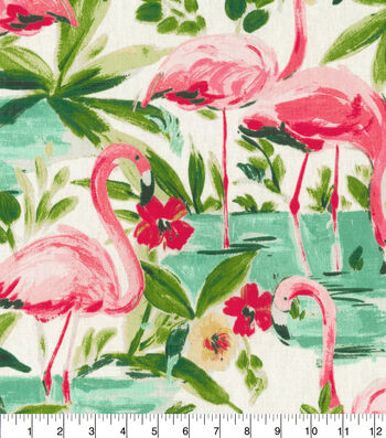 """Waverly Upholstery Fabric 54""""-Floridian Flamingo in Bloom"""