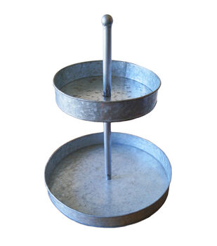 Mix the Media Galvanized Two Tier Round Tray