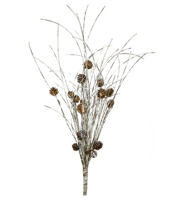 Blooming Holiday Christmas Farm White Birch with Tipped Pinecone Bush