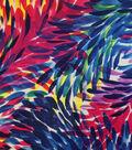 Sateen Fabric-Navy/Fuchsia Petals