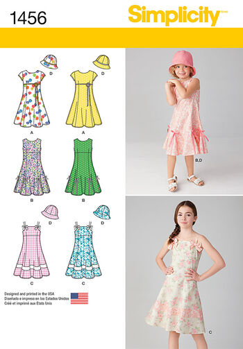 Simplicity Pattern 1456HH 3-4-5-6 -Child Girl Dresses