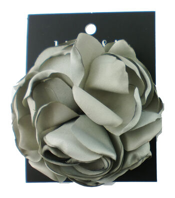 hildie & jo 3.5''x3.5'' Rose with Smooth Petals Embellishment-Gray