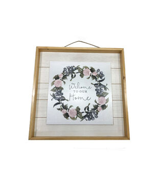 Simply Spring Wall Decor-Welcome To Our Home & Wreath