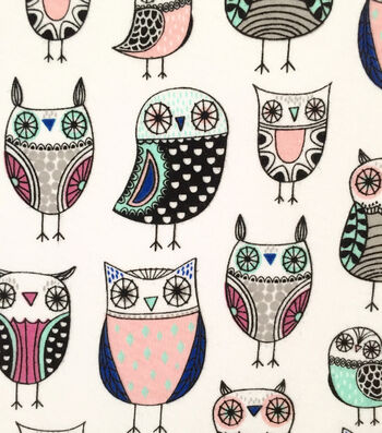 "Doodles Cotton Fabric 57""-Owl"