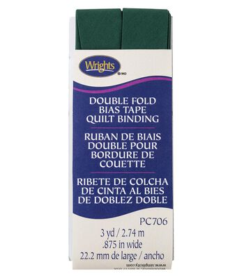Wrights Double Fold Quilt Binding Bias Tape 7/8''x3 yds-Hunter