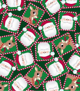 Christmas Cotton Fabric -Rudolph & Santa