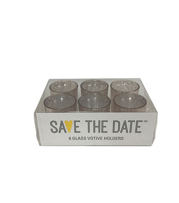 Save the Date 6 Glass Votive Holders-Champagne
