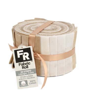 Jelly Roll Cotton Fabric Pack 2.5''x42''-Tan Texture