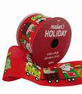Maker\u0027s Holiday Christmas Ribbon 2.5\u0027\u0027x25\u0027-Whimsy Train on Red