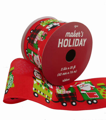 Maker's Holiday Christmas Ribbon 2.5''x25'-Whimsy Train on Red
